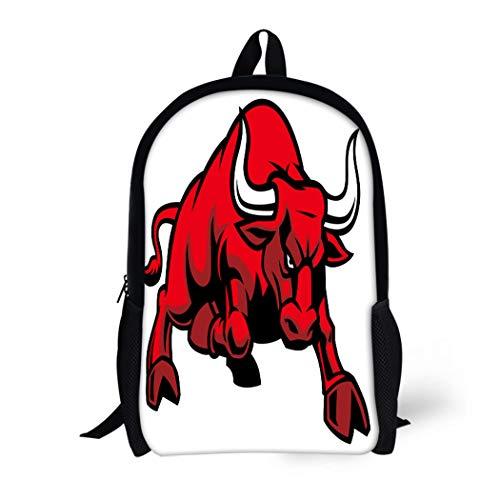 (Pinbeam Backpack Travel Daypack Red Mascot Charging Bull Angry Buffalo Longhorn College Waterproof School Bag)