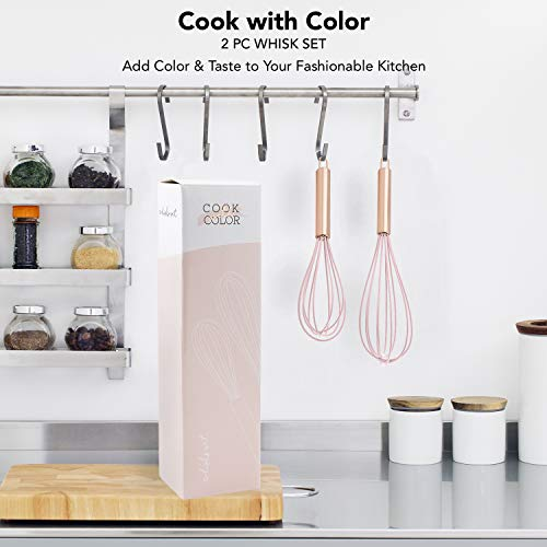 """COOK WITH COLOR Silicone Whisks for Cooking, Stainless Steel Wire Whisk Set of Two - 10"""" and 12"""", Heat Resistant Kitchen Whisks, Balloon Whisk for Nonstick Cookware - Rose Gold and Pink"""
