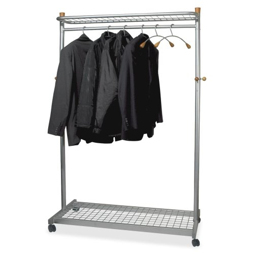 - Alba Practical Chrome Coat Rack - 72quot; Height x 45quot; Width x 22quot; Depth - Chrome