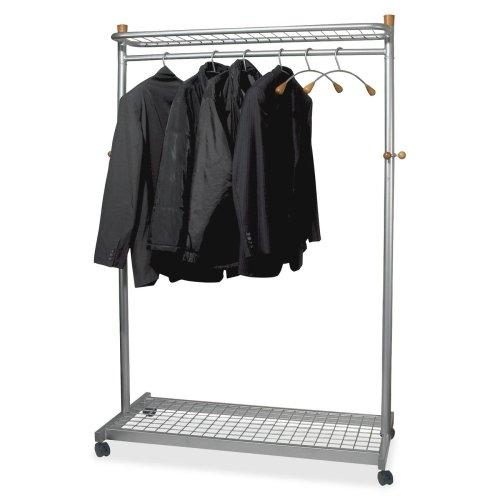 - Alba Practical Chrome Coat Rack - 72quot; Height x 45quot; Width x 22quot; Depth - Chrome