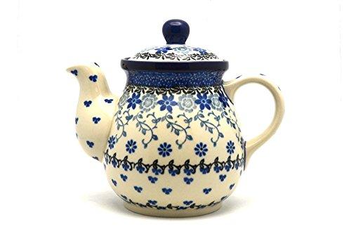 Polish Pottery Gooseneck Teapot - 20 oz. - Silver Lace