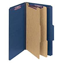 "Smead Pressboard Classification File Folder with SafeSHIELD Fasteners, 2 Dividers, 2"" Expansion, Legal Size, Dark Blue, 10 per Box (19035)"