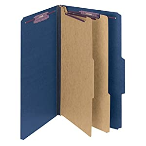 """Smead Pressboard Classification File Folder with SafeSHIELD Fasteners, 2 Dividers, 2"""" Expansion, Legal Size, Dark Blue, 10 per Box (19035)"""
