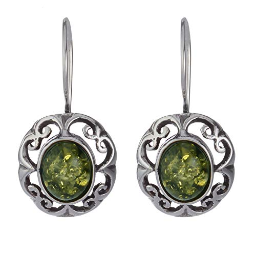 Sterling Silver and Baltic Green Amber Fish Hook Earrings