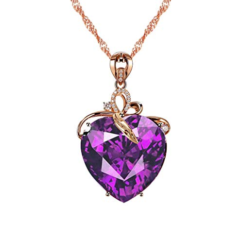 Uloveido Women's Purple Love Heart Necklace with Cubic Zirconia Amethyst Crystal Drop Pendant Necklace Gold Plated Chain Fashion Birthstone Jewellery Gifts for Girls - Cubic Zirconia Heart Necklace Drop