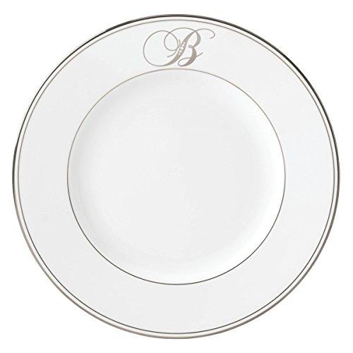 (Lenox Federal Platinum Script Monogram Dinnerware Dinner Plate, B)