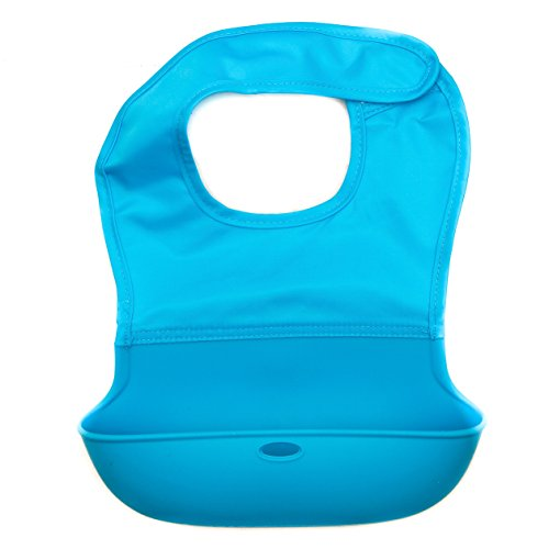 Eco-Friendly Food Catching Roll Up Bib With FREE Travel Bag - EZ-Clean And Machine Washable - Made From Food-Grade Materials 100% Safe, Non-Toxic, And Anti-Bacterial