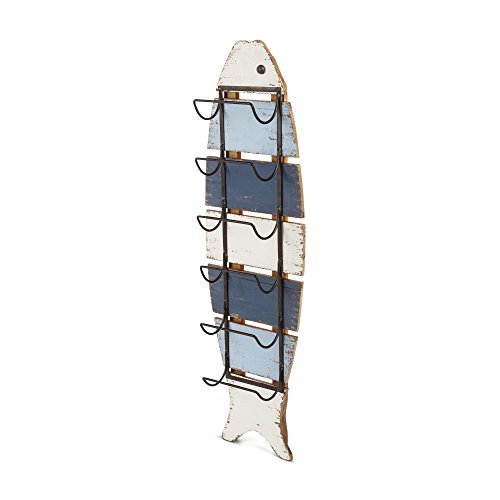 Gerson 94382 Wood Striped Fish Rack Home Decor 11.4InL x 5.5InW x 38.8InH Multicolor