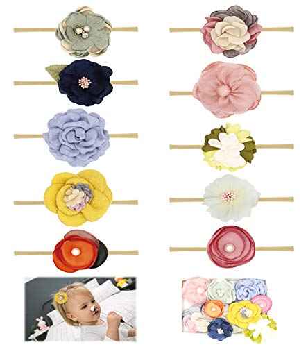Flower Headband Bow - Baby Girl Headbands Bows Flowers,10 Pack Soft Nylon Hair Accessories for Newborn Infant Toddler Girls by FANCY CLOUDS