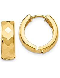 Mia Diamonds 14k GoldTextured Hinged Hoop Earrings