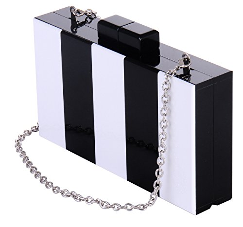 - Black and White Purse Acrylic Clutch Evening Handbags Crossbody Bags for Women
