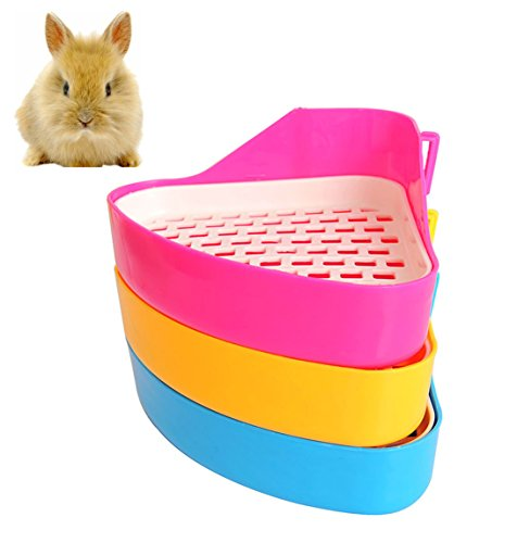 Fashionclubs Potty Trainer Corner Litter Toilet Tray For Hamster Gerbil Bunny Chinchilla Guinea Pig Ferret Random Color