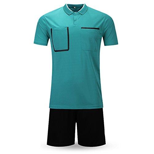 Shinestone Men And Women Soccer Short Sleeves Referee Jersey Referee T-Shirt (Dark green, Small) ()