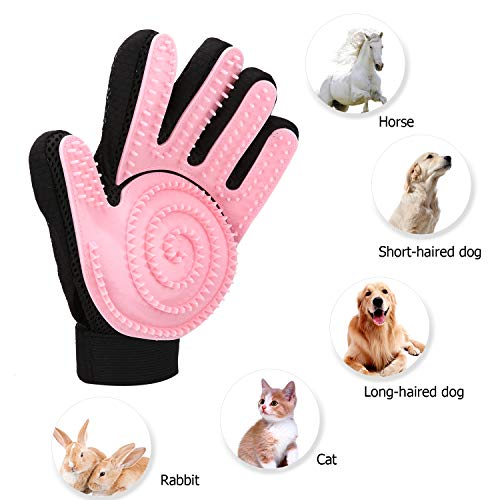 Pet Grooming Glove - Right Gentle Deshedding Brush Glove Imitating Cat Tongue for for Cats, Dogs & Horses-Pink