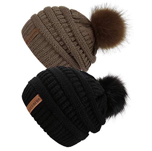 QUEENFUR Women Knit Slouchy Beanie Chunky Baggy Hat with Faux Fur Pompom Winter Soft Warm Ski Cap (Black/Dark Camel 2pcs) Black Knit Beanie Skull Cap