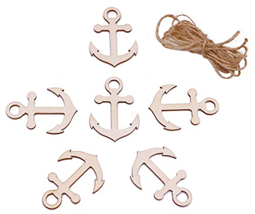 VERNUOS 24 PCS Unfinished Wood Anchor Cutout Shapes for Paint Decorate Handicraft]()
