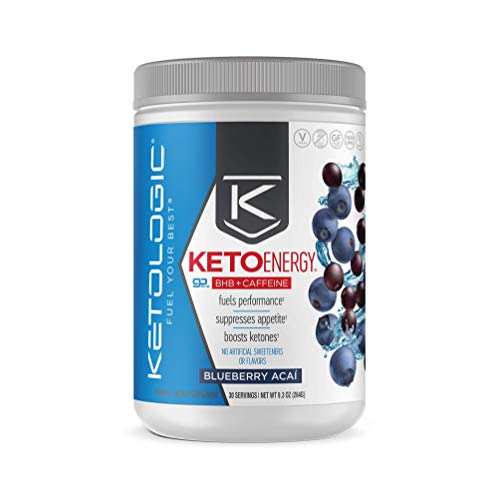 KetoLogic BHB Exogenous Ketones with Caffeine   Supports Keto Diet, Weight Management, Energy & Focus   Ketone Powder Pre-Workout Supplement, Beta-Hydroxybutyrate BHB Salts   Blueberry Acai - 30 Serve