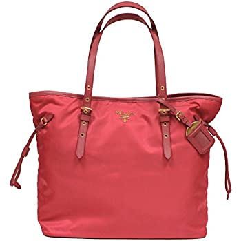 a6b8ff0b2179 Prada Tessuto Saffian Pink Nylon Leather Shopping Tote Shoulder Bag Large  BR4997