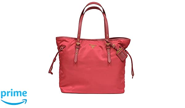 ed0cdf6d7b Amazon.com: Prada Tessuto Saffian Pink Nylon Leather Shopping Tote Shoulder  Bag Large BR4997: Shoes