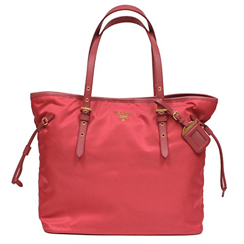 (Prada Tessuto Saffian Pink Nylon Leather Shopping Tote Shoulder Bag Large BR4997)