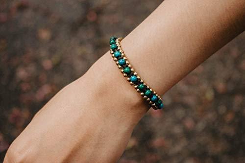 (Changnoi Chrysocolla Brass Bead Bracelet, Handcrafted Bracelet for Women, Fair Trade Bracelet)
