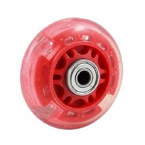 eDealMax plástico patinaje Zapatos del patín de ruedas 608ZZ Teniendo 2,76 pulgadas de diámetro Claro Rojo