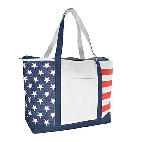 - DALIX Striped Boat Bag Premium Cotton Canvas Tote Black, Red, Pink, Navy Blue, Purple (Stars-Stripes)