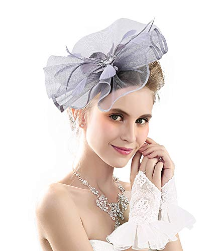 (Kentucky Derby Fascinators for Women Tea Party Hat Cocktail Sinamay Headpiece Flower Mesh Feathers Headband SilverGry_AD)