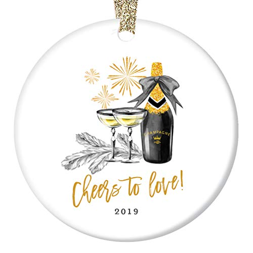 Cheers to Love! Christmas Ornament 2019 Engaged Couple Future Mr & Mrs Champagne Celebration Engagement Party Bridal Shower Wedding Keepsake 3