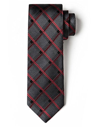 Origin Ties 100% Silk 3 Skinny Tie Handmade Men's Windowpane Checkered Necktie Dark Grey and Red