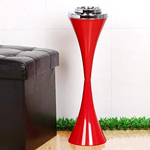 Floor Cigar - BEAMNOVA Floor Ashtray for Cigarettes Outdoor Indoor Hinged Lid Cigar Ashtray Stand Self-Cleaning Red