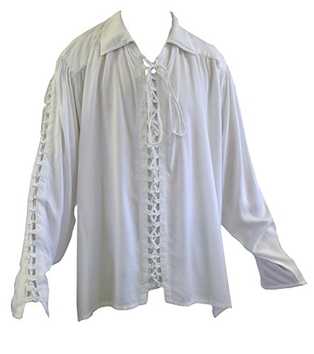 Men's White Medieval Lace Up Parchment Larp Shirt S/M (Burlesque Clothing Men)