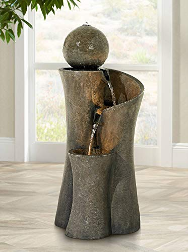 """John Timberland Modern Sphere Zen Outdoor Floor Water Fountain 39 1/2"""" with LED Light for Exterior Garden Yard Lawn - 39 1/2"""" high x 16 1/2"""" wide x 18"""" deep. Holds 5 to 6 gallons. Weighs 32 lbs. Modern Sphere Zen fountain with built-in light, by John Timberland. Can be used inside or outdoors. - patio, outdoor-decor, fountains - 41gU5DkfDqL -"""