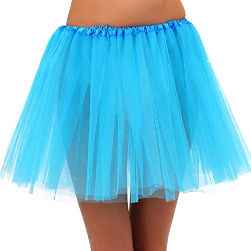 Jasmine Womens Teen Classic 3 Layered Tulle Dress up Tutu Running Skirt,Sky Blue ()
