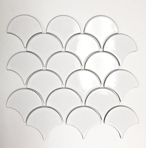 Ann Scale - Mandarin Oriental Fan Soft White Scalloped Porcelain Mosaic Tile Backsplash