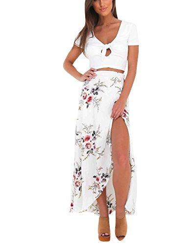 Moda Falda Larga Estampada Flor Maxi Boho Verano para Mujer Vestido Pareo Playa Bikini Cover Up Ropa de Playa Fiesta Caual Vacación Blanco