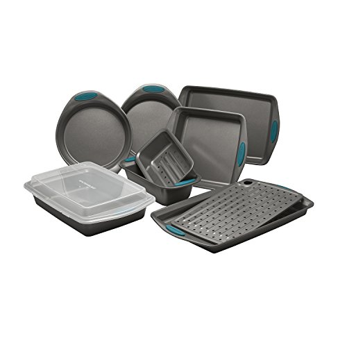 Rachael Ray 47025 Yum-o Nonstick 10-Piece Oven Loving' Bakeware Set, Gray with Marine Blue Handles