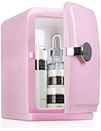 Mini Fridge Electric Cooler And Warmer Portable 6 Can Mini Fridge For Home,Office, Car Or Boat AC & DC, Pink