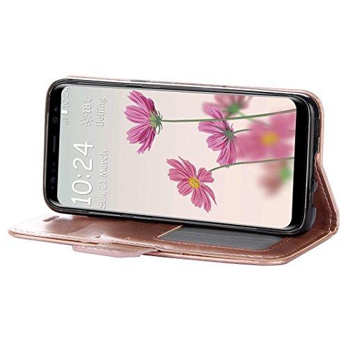 Galaxy S8 Funda, Galaxy S8 Carcasa, Moon mood® PU Cuero Mandala Grabado Caso Sólido Suave TPU Cáscara Flip Case Cover para Samsung Galaxy S8 5.8 pulgadas Caso Cubierta Leather Funda con Tapa Cierre Ma Oro Rosa