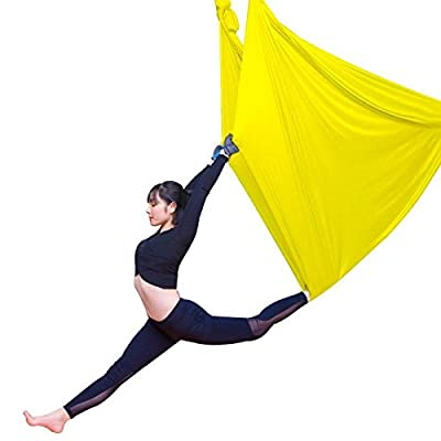 Alger Aerial Yoga Haute altitude hamac Accueil Yoga Micro élastique Stretch sangle Sling Yoga Stretch band Yoga, 5 m , yellow