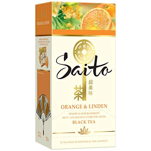 Black tea Saito Orange and Linden Beverages Grocery Gourmet Food [1 PACK] [20 tea bags]
