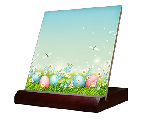 Easter Eggs In Grass Dragonfly Ceramic Tile & Stand 6