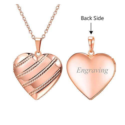 U7 Charm Necklace Flower/Cross Pattern Platinum/Rose Gold/18K Gold Plated Locket Pendant with 22 Inches Chain, 4 Styles (C.Rose Gold Stripe Grain(Personalized))