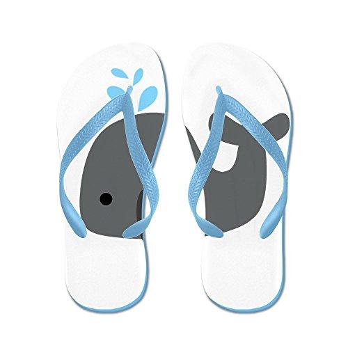 Cafepress Grå Whale - Flip Flops, Roliga Rem Sandaler, Strand Sandaler Caribbean Blue