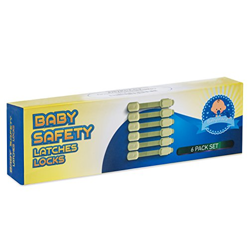 Baby Safety Latches Locks for Furniture Childproofing Dressers to Cabinets Sliding Non-Magneting Creamed 6 Pack by BabyWard