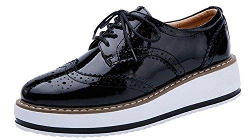 Chaussure Ville 40 Taille Grande 41 wealsex Femme Lacets Derby Noir Brogues Vernis à Plateforme Baskets Cuir 39 6Ywq0f