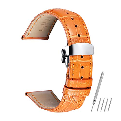 Watch Band Leather Strap Replacement 14mm 16mm 18mm 19mm 20mm 21mm 22mm 24mm Calf Wrist Watchband Deployment Buckle Deployant Clasp ()