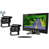 Tadibrothers 9 Inch Monitor with 2 Wireless Mounted RV Backup Cameras