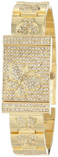 Burgi Women's BUR068YG Diamond Butterfly Cover Quartz Watch