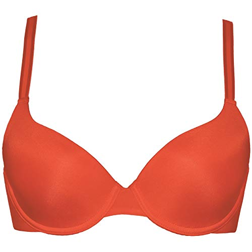 Curve Muse Womens Plus Size Full Coverage Padded Underwire Bra-1PK-FLAME-34C ()